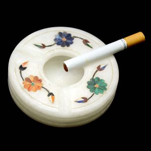 3 inch White Marble Octagonal Ash Tray