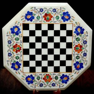 White Octagonal Chess Board of 15 inch
