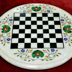 White Round Chess Board of 12 inch