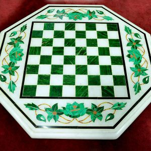 White Octagonal Chess Board of 18 inch