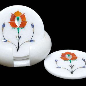 White Round Coaster Sets of 4 inch