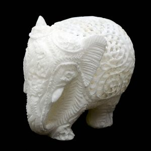 Hand Carved White Marble Elephant Statue