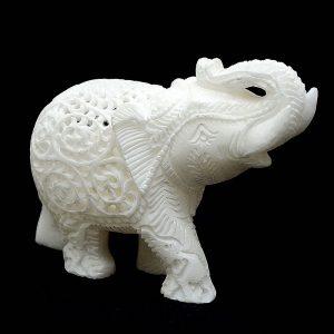 White Fancy Elephant Statue 4 inch