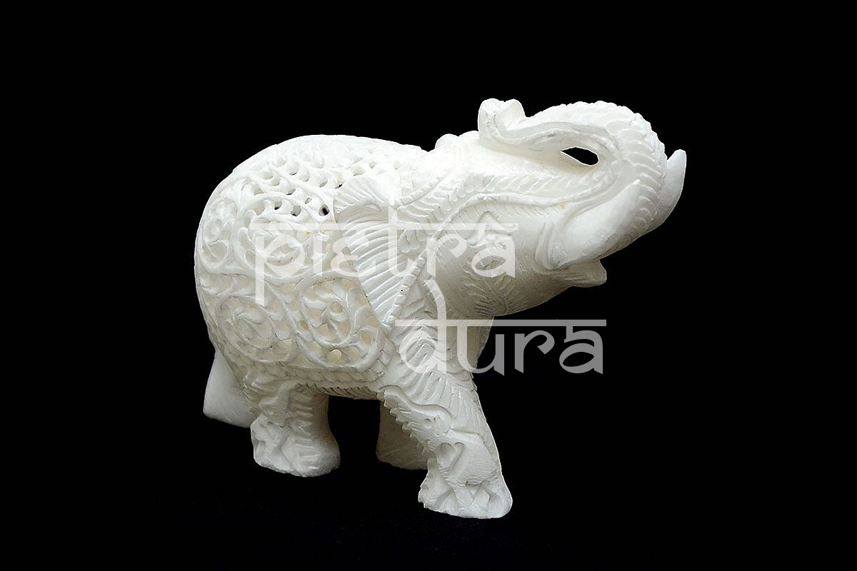 White Fancy Elephant Statue 4 Inch Pietra Dura Products