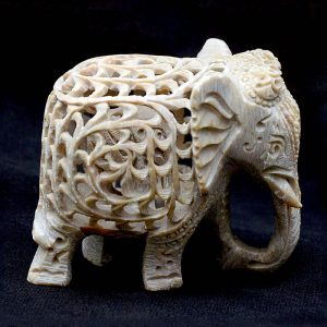 2 inch Green Marble Elephant Statue