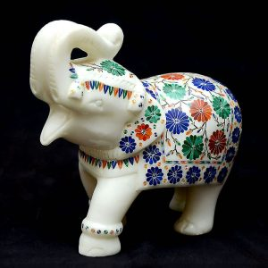 White Marble Elephant Statue of 6 inch