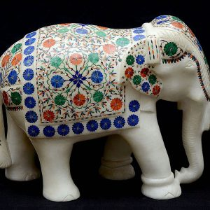 9 inch White Marble Elephant Statue