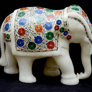 White Marble Elephant Statue 6 inch