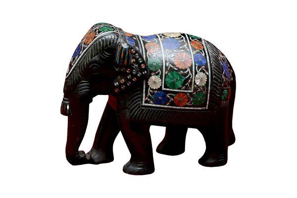 6 inch Black Marble Elephant Statue
