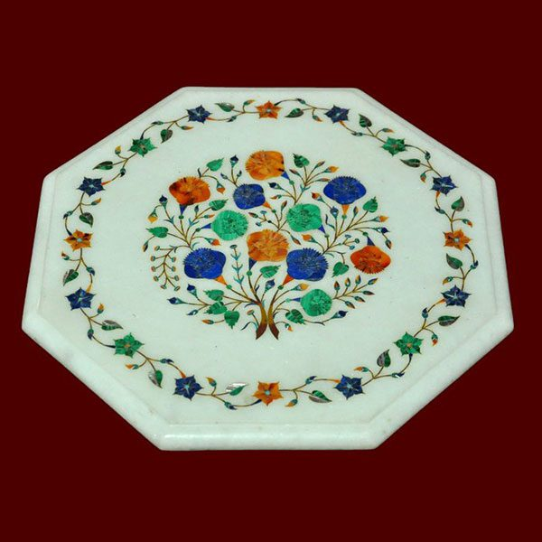 White Octagonal Table Top of 15 inch