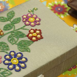 10 x 7 x 3 inch Silver Embroidered Floral Zari Box