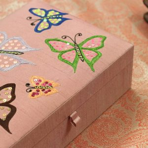 10 x 7 x 3 inch Pink Embroidered Animal Zari Box