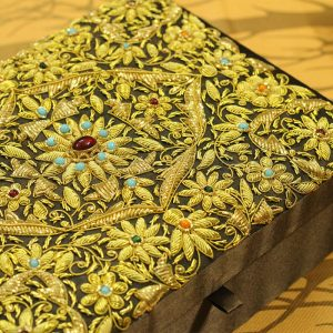 10 x 7 x 3 inch Brown Embroidered Floral Zari Box