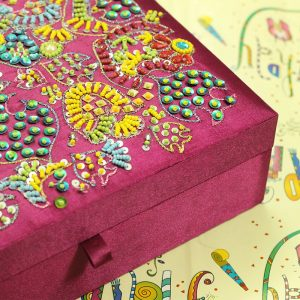 10 x 7 x 3 inch Pink Embroidered Floral Zari Box