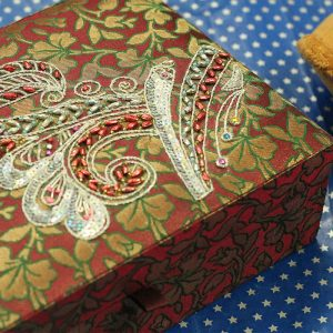10 x 7 x 3 inch Maroon Embroidered Floral Zari Box