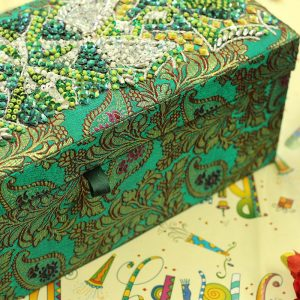 12 x 4.5 x 3.5 inch Green Embroidered Floral Zari Box
