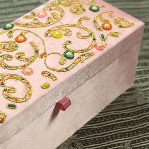 12 x 4.5 x 3.5 inch Pink Embroidered Floral Zari Box